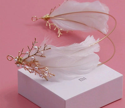 BJ58 White Feather Crown Bridal Hair Accessories