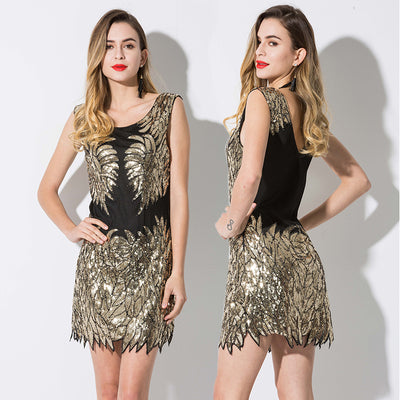 MX84 Sleeveless Black Gold Sequin Bodycon Party Dress