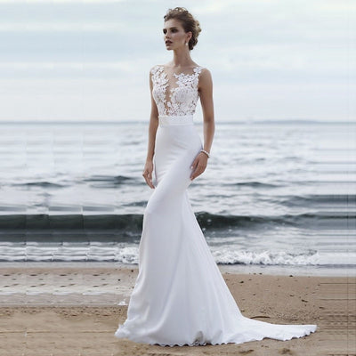 CW159 Scoop neck Appliques Lace Mermaid Wedding Gown