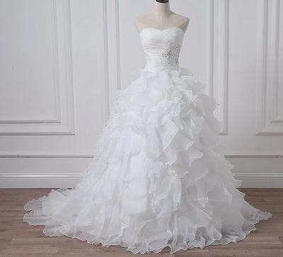 Strapless sweetheart ruffles Bridal Gowns