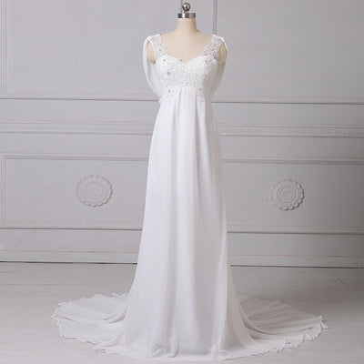 CW69 Real Photo Chiffon Beach Wedding Dress