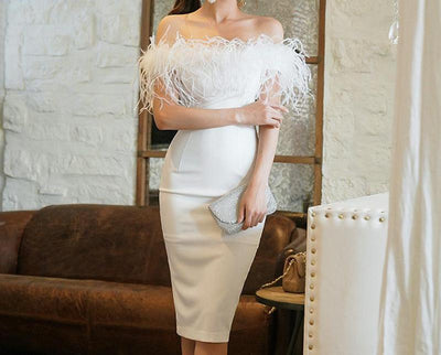 BH92 Korean Feather Off Shoulder Homecoming Dress