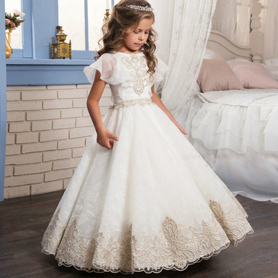 FG10 Appliques Short Sleeves Flower Girl Dress
