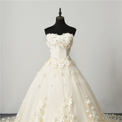 Plus size Champagne Tulle Pearls with 3D Floral wedding Dress