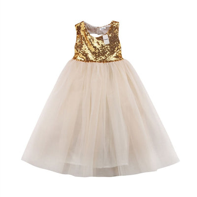 FG84 Sequins Backless Girl Dresses (Gold/Silver)