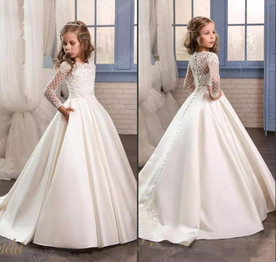 FG82 Long Sleeve Lace Flower Girl Dresses