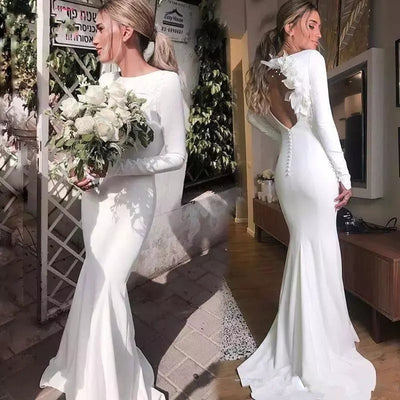 CW99 Simple backless satin beach wedding gown