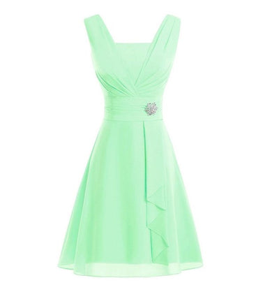 BH108 Simple chiffon short Bridesmaid Dress