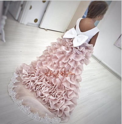 FG49 Flower Girl Dresses with layer Long Train