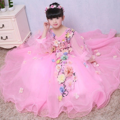 FG22 Illusion Puff long Sleeves Flower Girl Dresses(3 Colors)