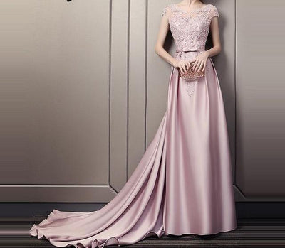 LG105 Bean Paste color satin Evening gown