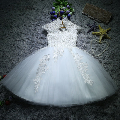 FG55 White Sequin Lace Christening Dress