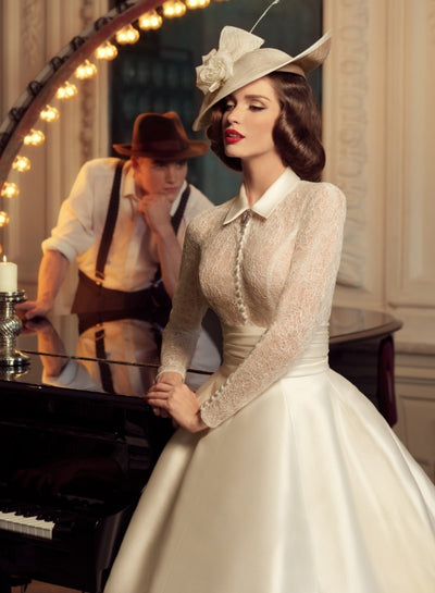 CW130 Vintage high neck long sleeves Wedding Dress