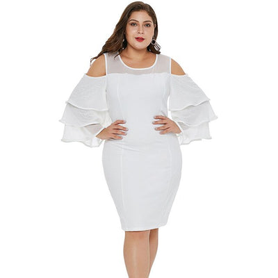 MX129 Plus Size Cold Shoulder Flare Sleeve Bodycon Dress( Black/White)