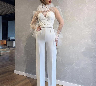 JR59 High neck long sleeve Prom Jumpsuit