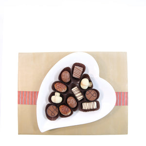 Heart Plate with 12 Chocolates