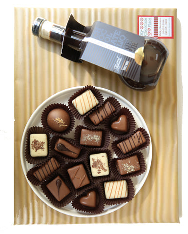 Round Plate with Chocolates and Liquor