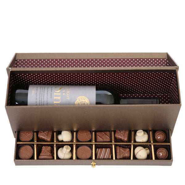 Cardboard Wine Box with Chocolate Drawer