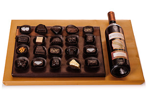 Arrangement of 20 Chocolates Plus Wine!