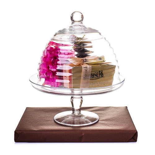Hand-Blown Glass Cake Plate with Dome Cover