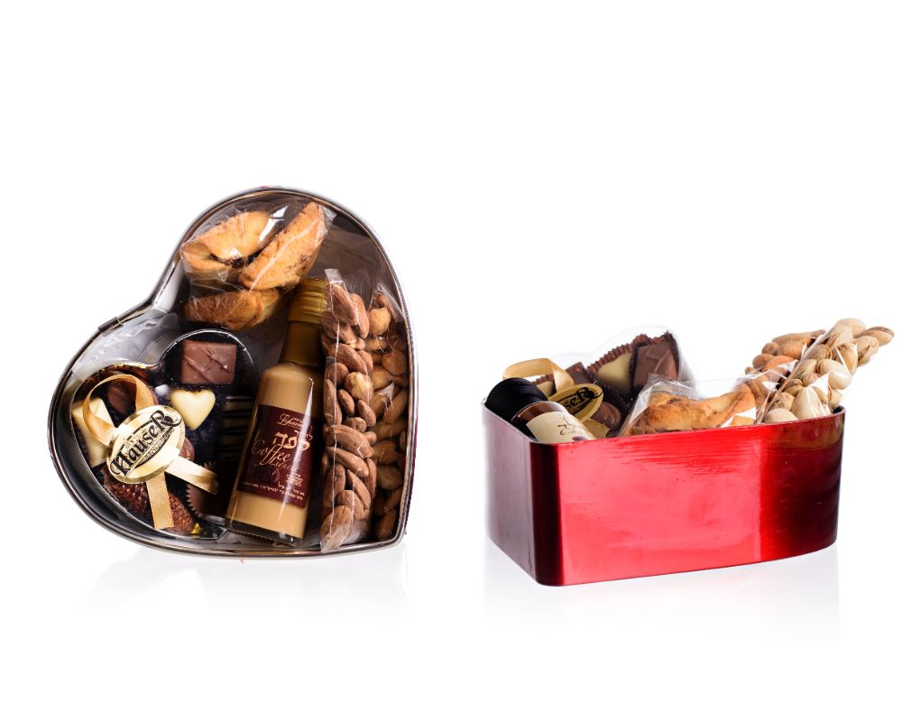 Heart-shaped box filled with goodies