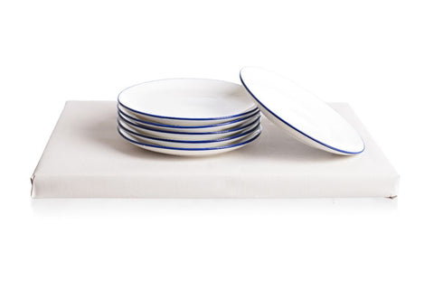 Set of 6 white ceramic cake plates with navy edge
