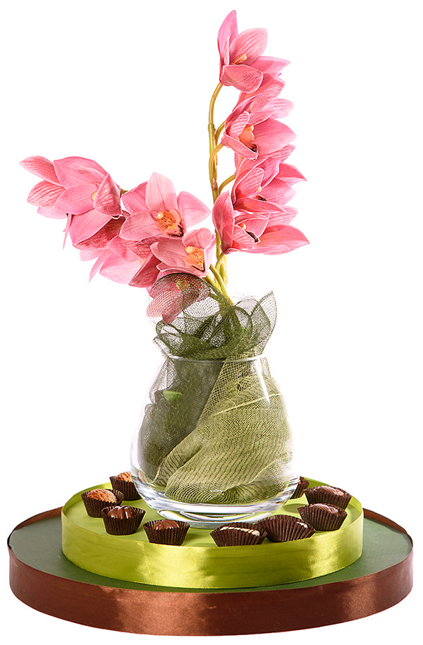 Stunning Teardrop Shaped Vase With Orchids