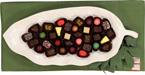 Leaf shaped Dish filled with Chocolates
