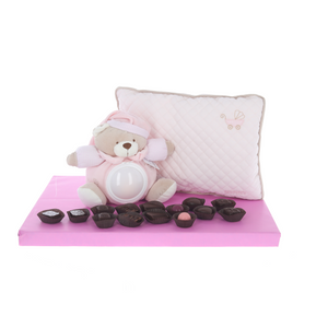 Adorable musical night light teddy and pillow, surrounded by Belgian pralines - girl