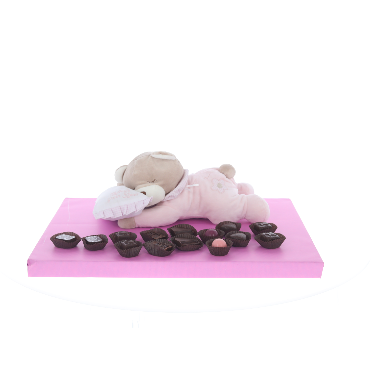 Pink musical sleeping teddy