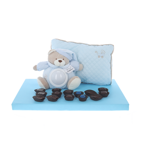 Adorable musical night light teddy and pillow, surrounded by Belgian pralines - boy