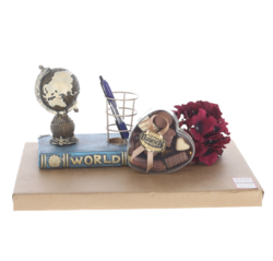 Desk accessory/pen holder with Belgian chocolates