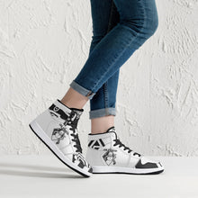 Load image into Gallery viewer, 209. High-Top UNLEASHED  SNOWMAN Leather Sneakers - White / Black