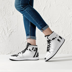209. High-Top UNLEASHED  SNOWMAN Leather Sneakers - White / Black