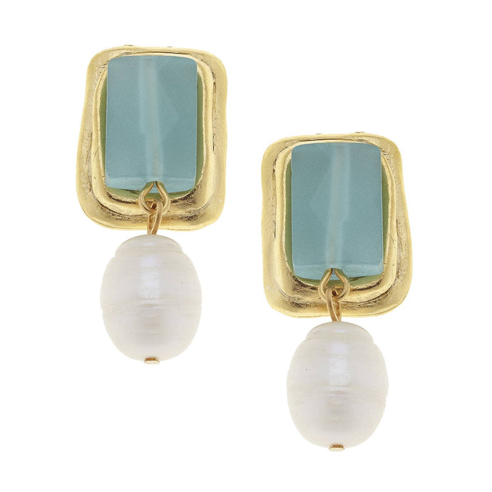 Susan Shaw - Gold and Aqua Quartz Rectangle with Genuine Freshwater Pearl Clip Earrings