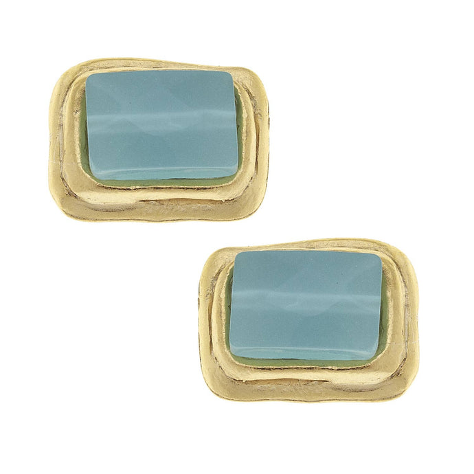Susan Shaw - Gold Rectangle and Aqua Quartz Earrings