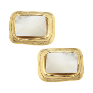 Susan Shaw - Gold Rectangle and Mother of Pearl Earrings