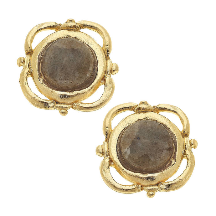 Susan Shaw - Gold Scallop and Labradorite Clip Earrings