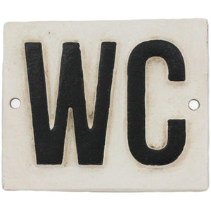 Cast Iron Distressed WC Sign