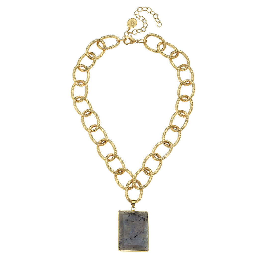 Susan Shaw - Gold Chain and Rectangle Labradorite Drop Necklace