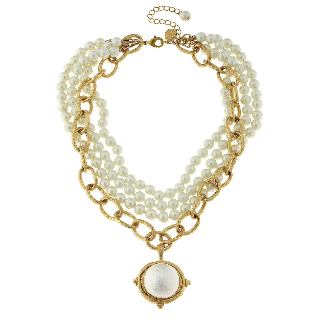 Susan Shaw - Handcast Gold Cotton Pearl and Gold Chain Necklace