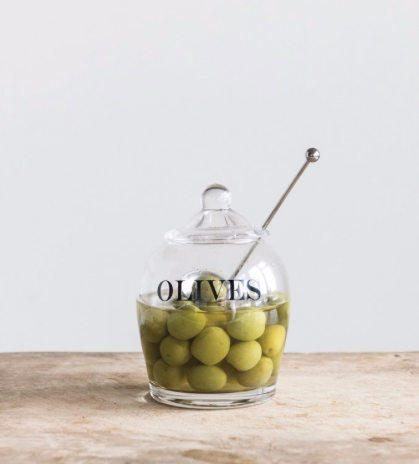 Glass Olive Jar with Stainless Steel Spoon