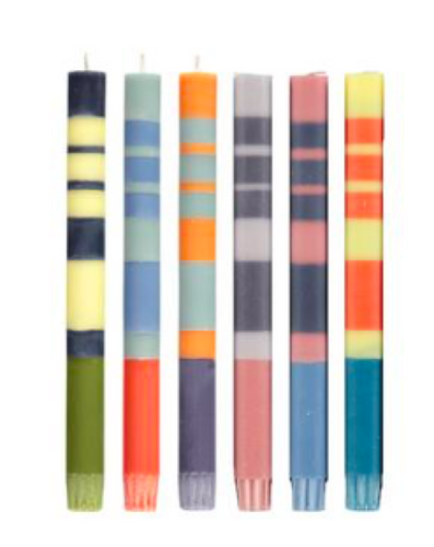 Colorful Striped Taper Candles