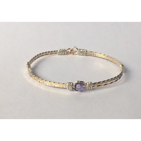 Custom Hand Crafted 14k Gold Filled and Sterling Silver Bracelet with Birthstone