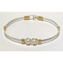 Grandmother or Mother's Sterling Silver and 14k Gold Filled Bracelet with Pearls