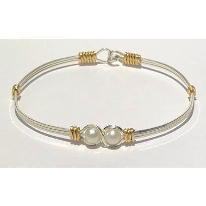 Mother's or Grandmother's Hand Crafted Custom Sterling Silver Bracelet with Pearls