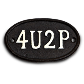 Cast Iron 4U2P Bathroom Sign