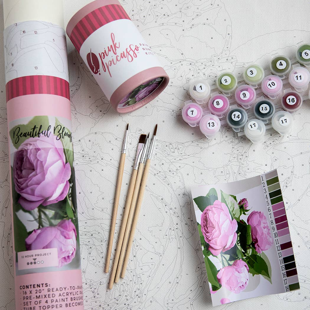 Pink Picasso Kits - Beautiful Bloom Printed Canvas