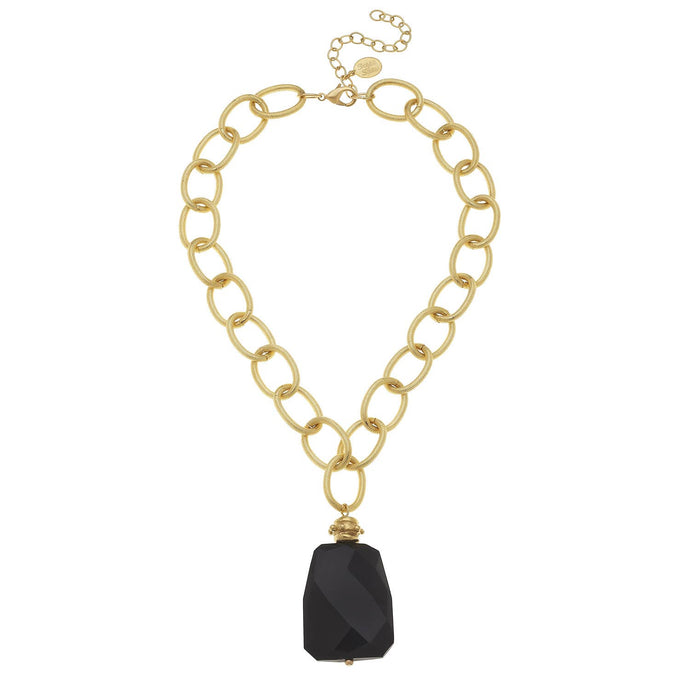 Susan Shaw - Gold Chain with Black Onyx Necklace