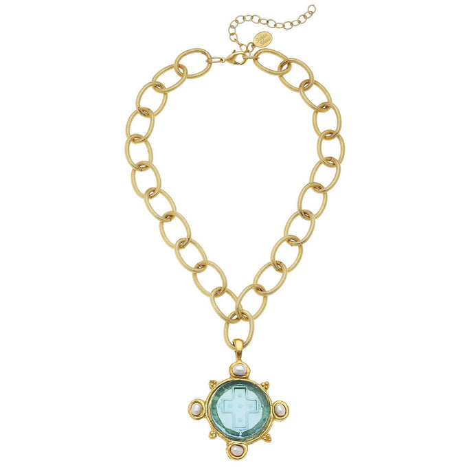 Susan Shaw - Aqua Venetian Glass Cross Intaglio and Genuine Freshwater Pearls on Chain Necklace